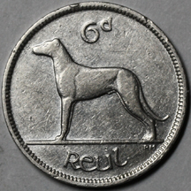 An Irish 6 pence coin