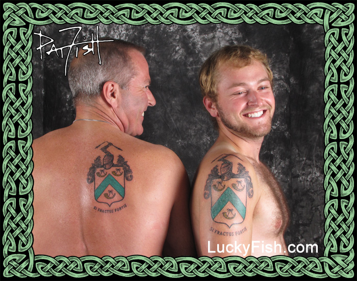 Father and Son with Foster Family Crest Tattoos by Pat Fish