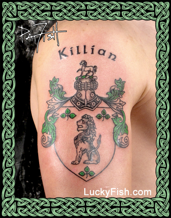 Killian Family Crest Tattoo  by Pat Fish