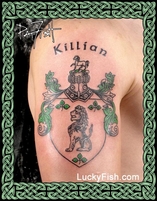Killian Family Crest Tattoo by Pat Fish