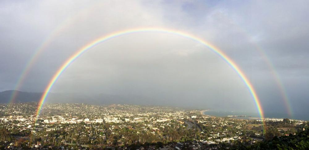 A double rainbow over Santa Barbara on a rare cloudy day.