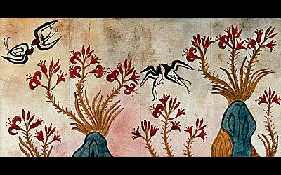 """The Santorini fresco the birds came from - it is always good to encourage people to look for something in the world of art that they feel a resonance with as the inspiration for their tattoos, instead of just thinking to look for a """"tattoo image"""" that has already been done in this medium."""