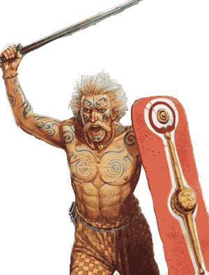 A tattooed Pictish warrior going into battle. In tartan trews and with his hair spiked with lime.