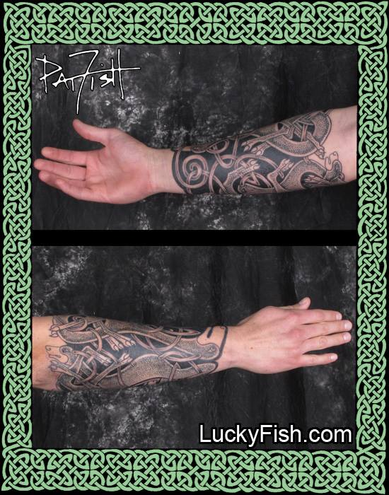 Zoomorphic Celtic Dogs Forearm Tattoo by Pat Fish