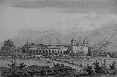 This is the Mission as it appeared in 1870, when it was the center of life in the region.