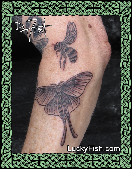 Luna Moth and Bee Tattoos by Pat Fish