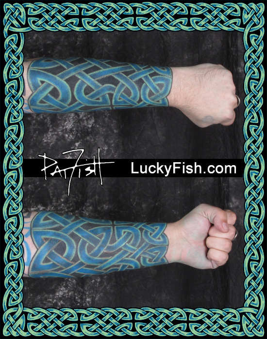 Color Celtic Knot Forearm Tattoo by Pat Fish