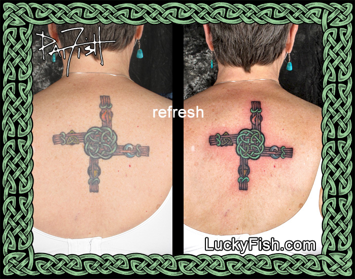 St. Brigid's Cross Tattoo Touch-Up by Pat Fish