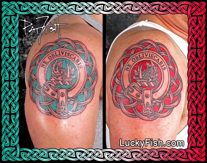 Matching, but not identical, Father and Son Clan Campbell Crest Tattoos by Pat Fish