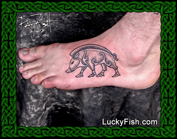 Pictish Stone Boar Tattoo