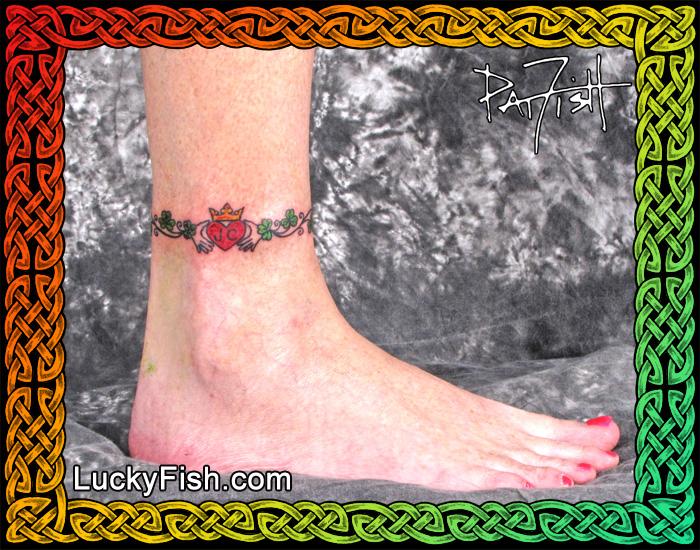 Shamrock Claddagh Anklet Tattoo