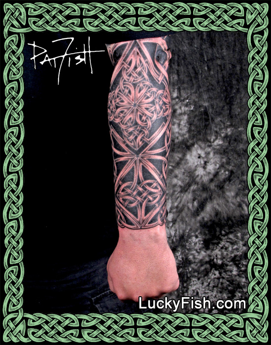 Celtic 'Hero' Knotwork Forearm Sleeve Tattoo by Pat Fish