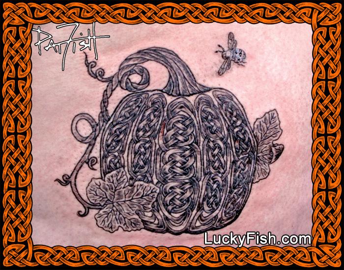 Celtic Knotwork Pumpkin Tattoo by Pat Fish