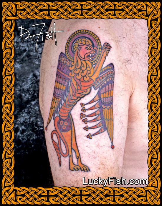 'Book of Kells Lion' Celtic Tattoo by Pat Fish