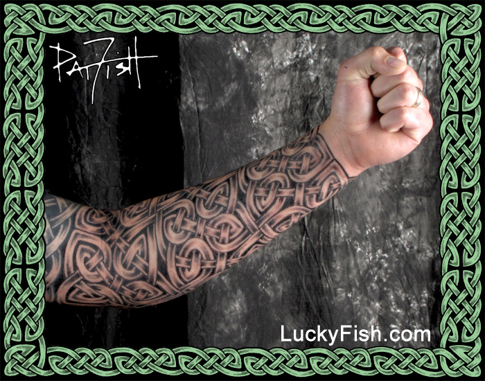 Long Body Armor Celtic Sleeve Tattoo  by Pat Fish