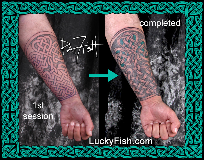Shamrock Gauntlet Celtic Sleeve Tattoo  by Pat Fish
