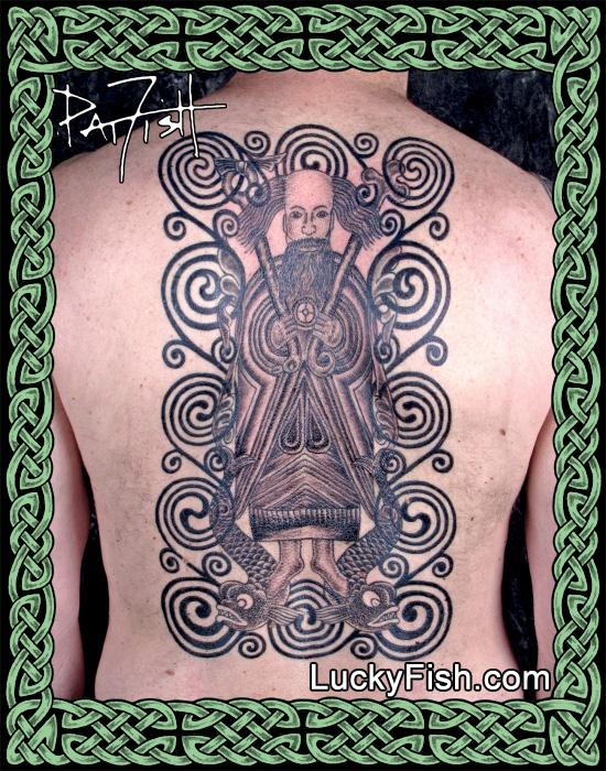 Saint Brendan Back-Piece Tattoo by Pat Fish