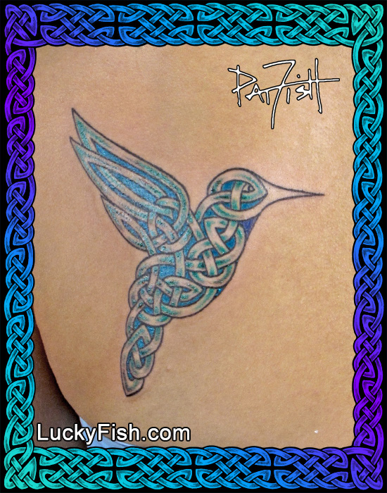 Colored Celtic Hummingbird Tattoo by Pat Fish