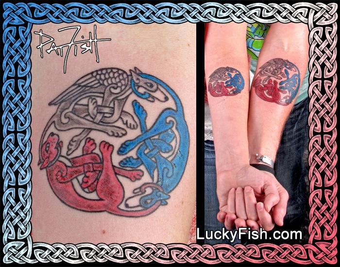 'Three Loves' Celtic Animals Tattoo by Pat Fish