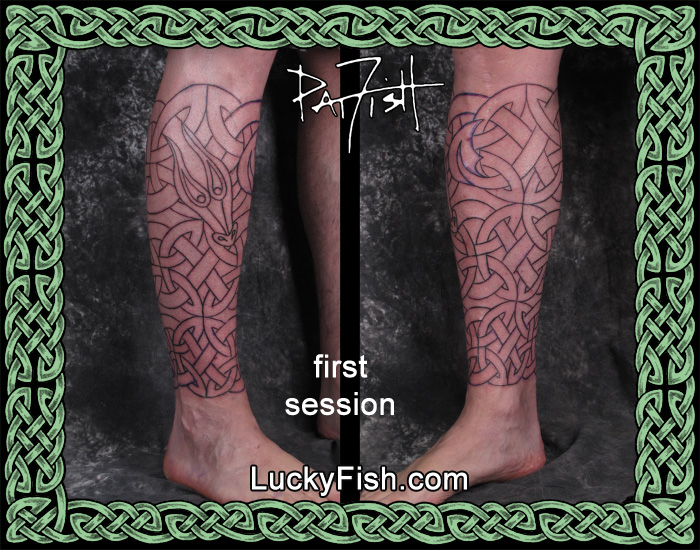 Celtic 'Serpent Dragon' Calf Wrap Tattoo by Pat Fish