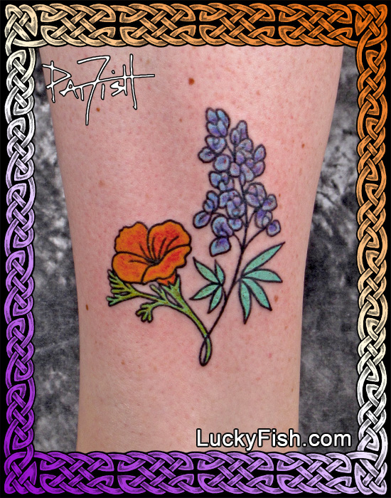 Another Poppy & Lupine Dedication Tattoo by Pat Fish