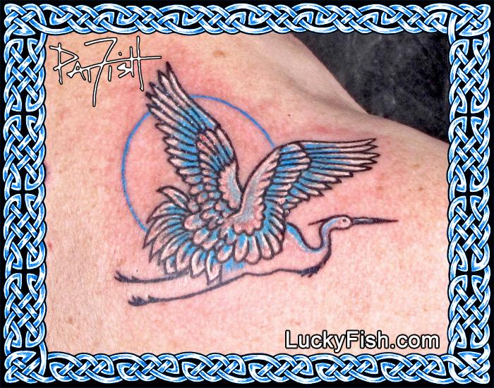 'Moon Heron' Tattoo by Pat Fish