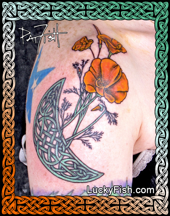 Pictish 'Moon Poppies' Celtic Tattoo by Pat Fish