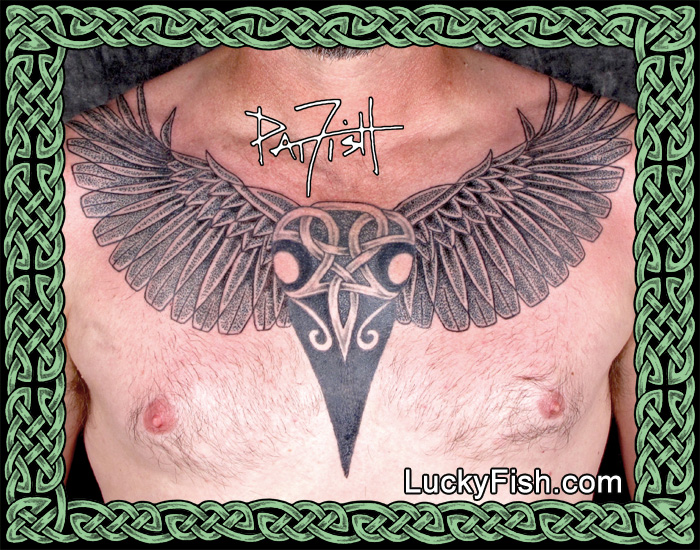 Winged Celtic Crow Skull Tattoo by Pat Fish