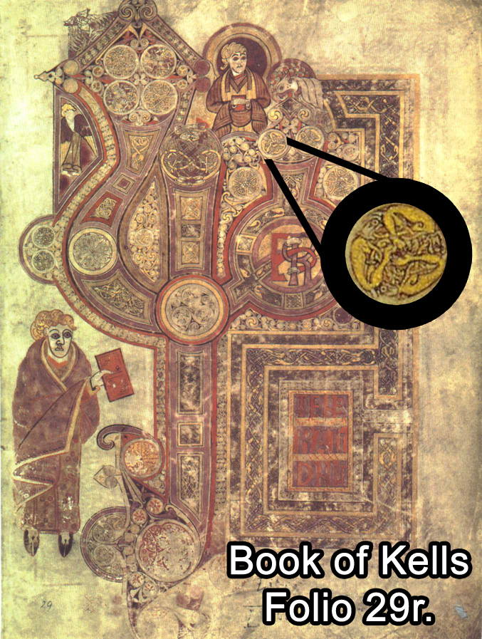 Here is the page from the Book of Kells featuring the original design (inset), and below it are links to the other versions.