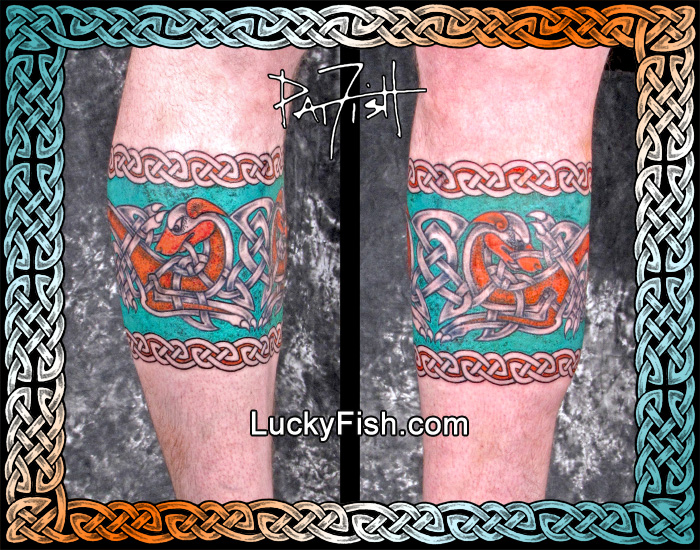 Enhanced 'Dogs of War' Celtic Band Tattoo by Pat Fish