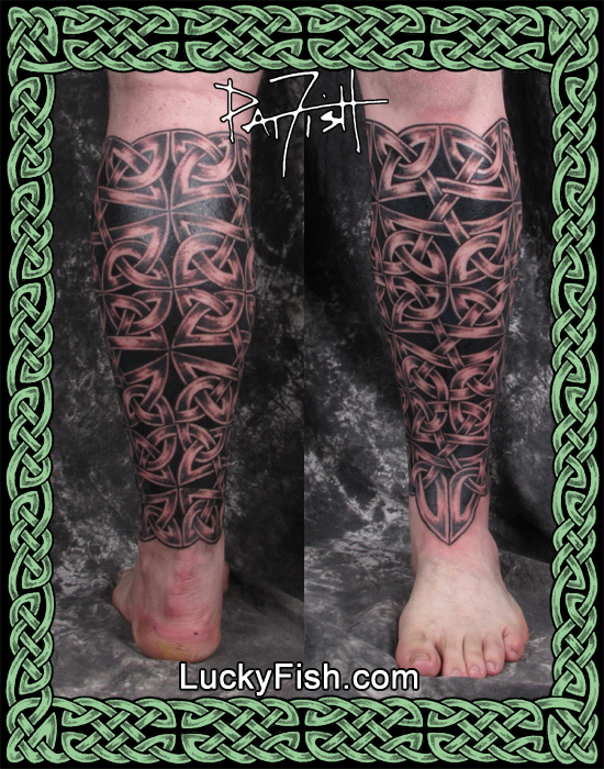 'Shin Guard' Celtic Body Armor Tattoo by Pat Fish