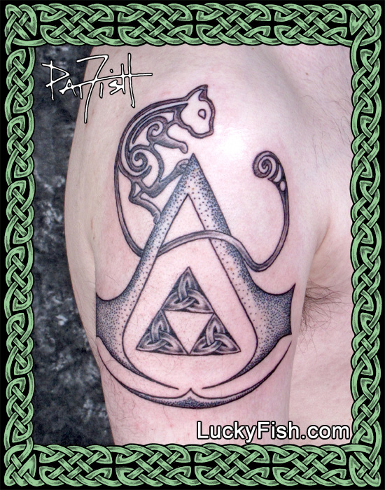 Pokemon, Legend of Zelda, and Assassin's Creed symbols tattoo by Pat Fish