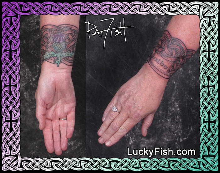 Celtic Cuff and Thistle Tattoo by Pat Fish