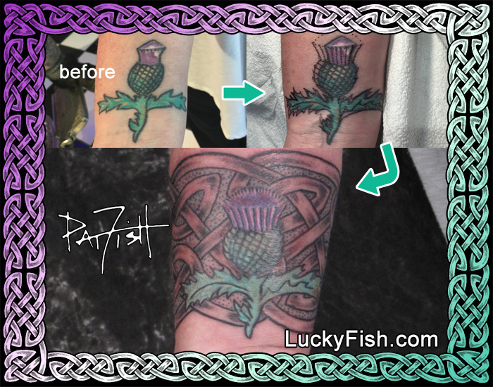 Celtic Thistle and Cuff Tattoo by Pat Fish