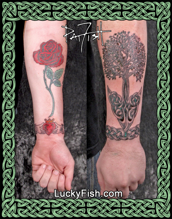 Celtic Tree and Claddagh Tattoo by Pat Fish