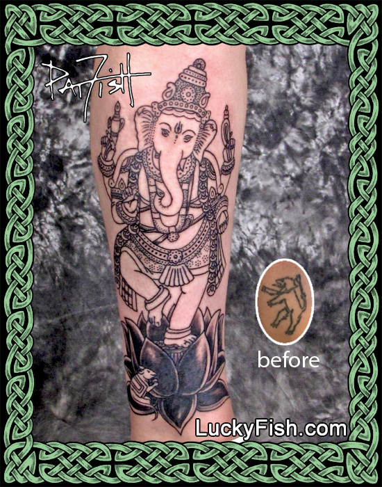 Dancing Ganesha Coverup Tattoo by Pat Fish