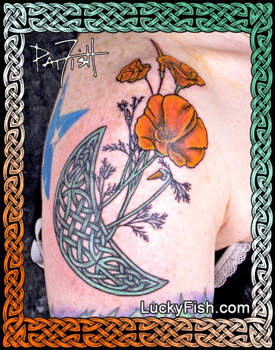 Pictish 'Moon Poppies' Celtic Tattoo