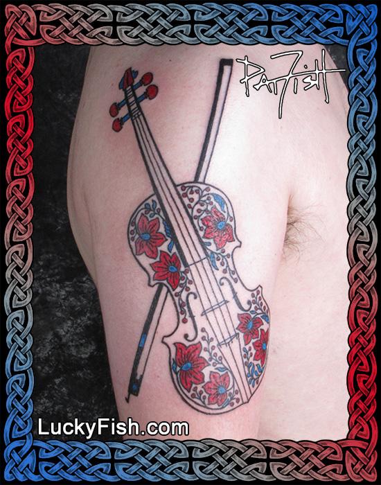 Hungarian Violin Tattoo by Pat Fish