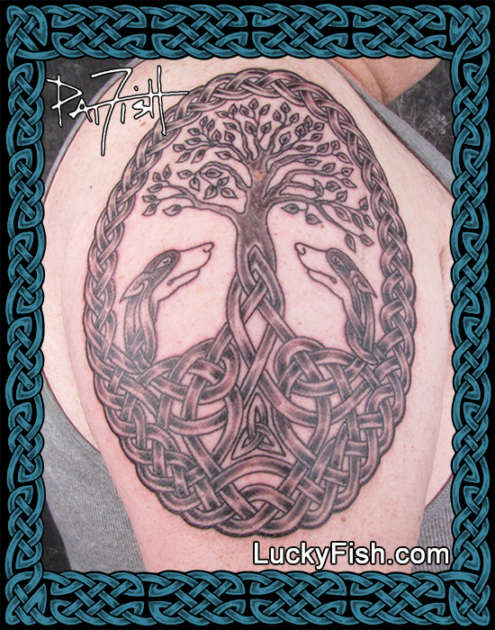 Celtic Hounds of Life tattoo by Pat Fish