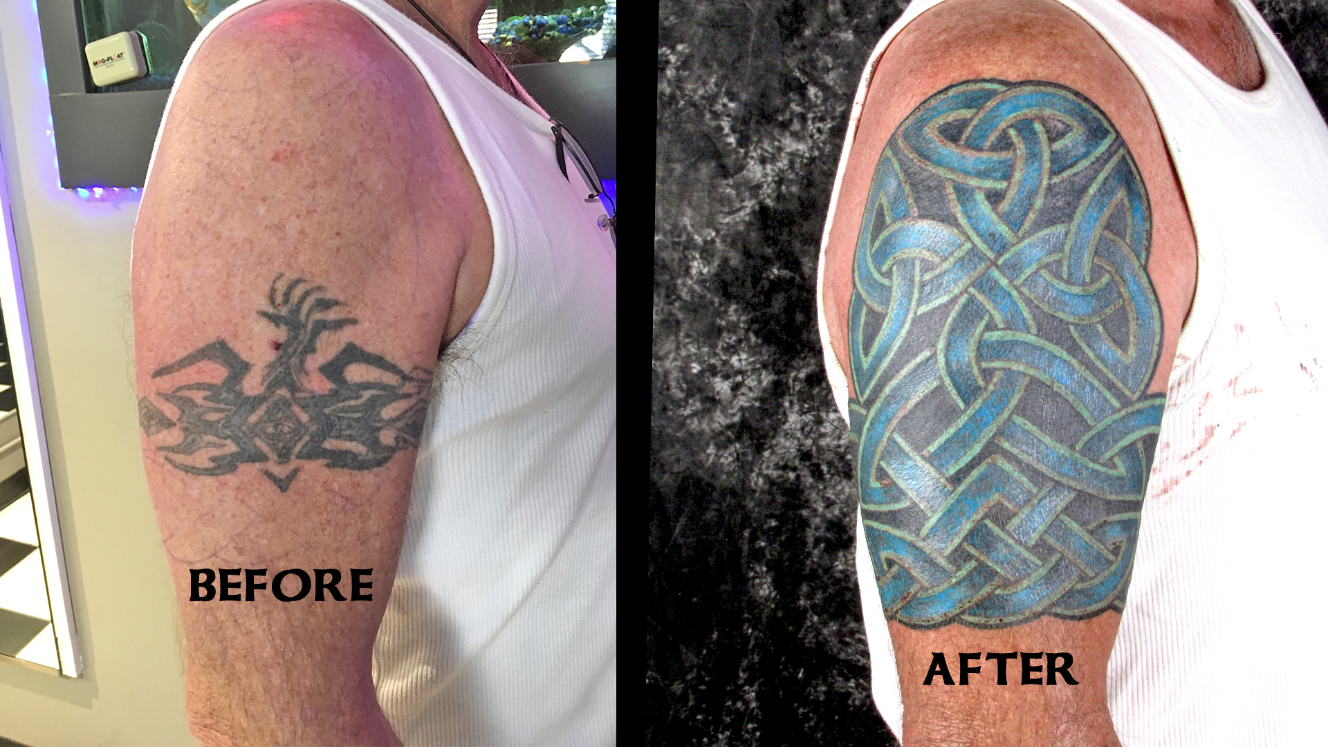 The tribal band becomes a Celtic sleeve