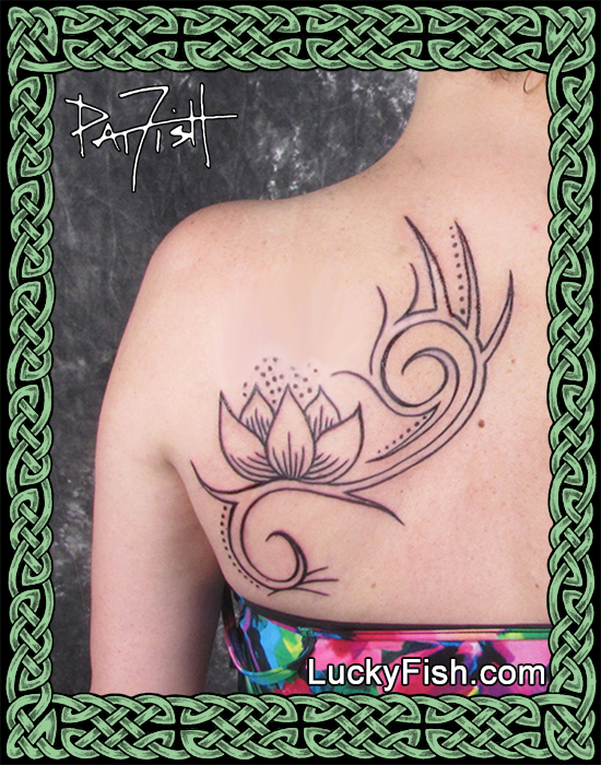 Tribal lotus tattoo by Pat Fish