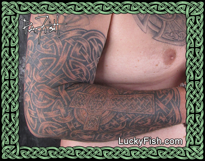 Full Arm Chain Mail Tattoo by Pat Fish