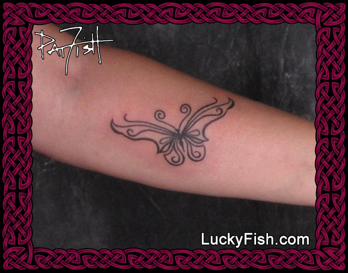 Tribal butterfly tattoo by Pat Fish