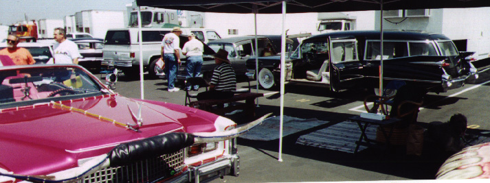The '59 being exhibited at the Rat Fink Car Show next to a pink 1959 convertible Cadillac