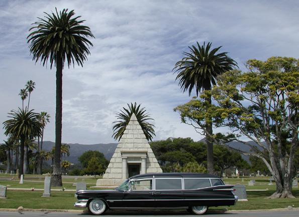 My 1959 Miller-Meteor Cadillac hearse in the Santa Barbara Graveyard in Montecito.