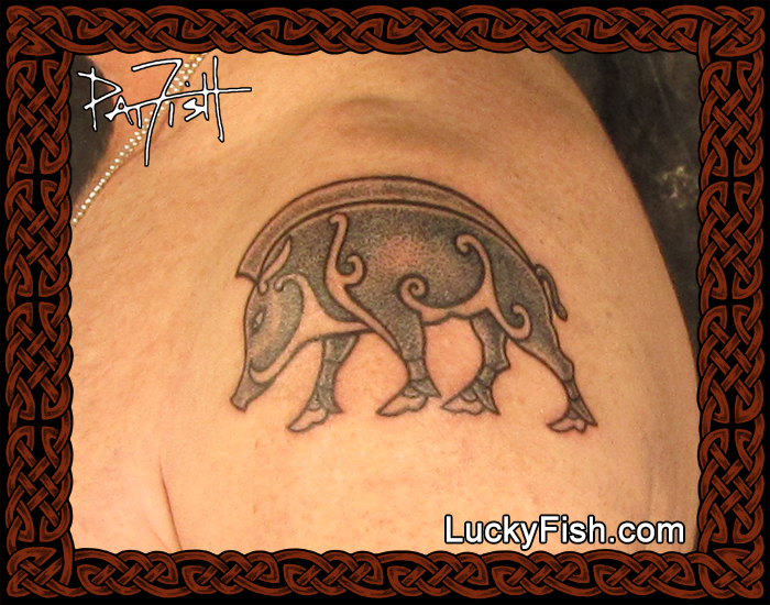 Stone Boar tattoo by Pat Fish