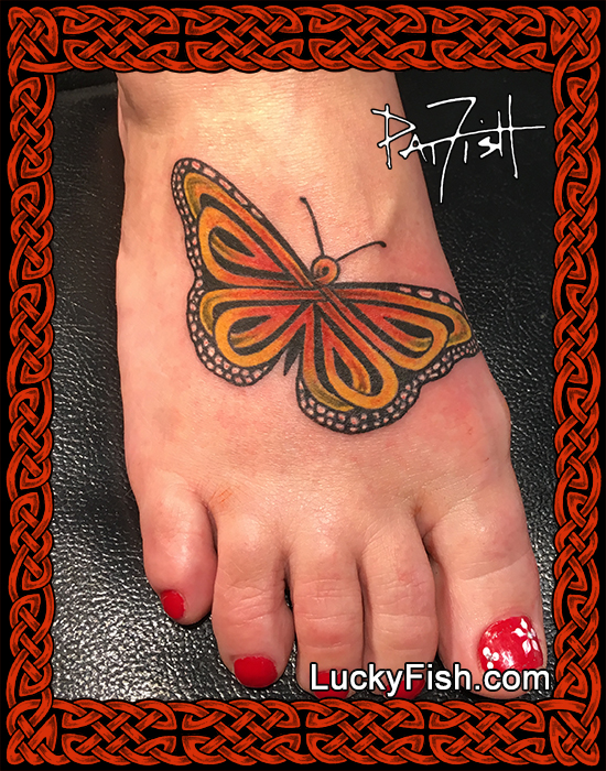 Celtic Knotwork Monarch Butterfly tattoo by Pat Fish