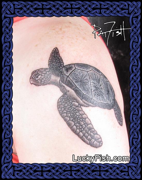 Sea Turtle tattoo by Pat Fish