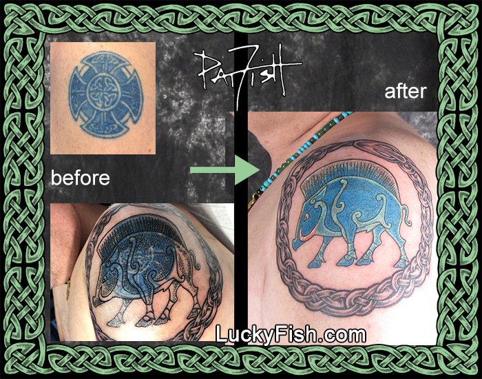 A successful cover-up tattoo by Pat Fish
