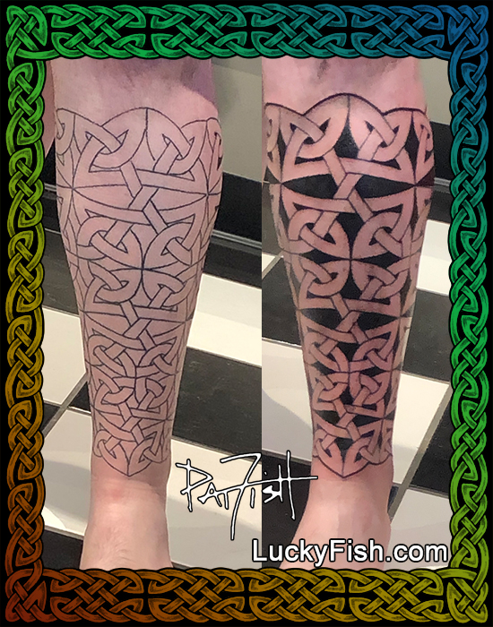 Celtic shin guard tattoo by Pat Fish